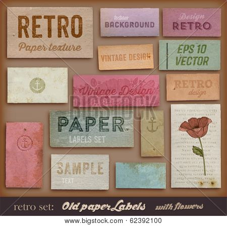 Scrapbooking set. Old paper textures, Different Aged Paper Elements Collection for Your Layouts. Engraving Flower and Floral Ornament.