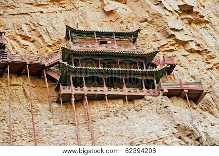 Famous Hanging Monastery In Shanxi Province Near Datong, China,  Oil Paint Stylization