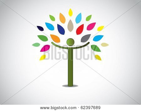 Abstract Colorful Leaves Tree Happy Young Boy Or Girl Open Hands