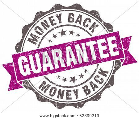 Money Back Guarantee Violet Grunge Retro Style Isolated Seal