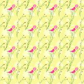 Springtime Colorful Cosmos Flower Seamless Pattern Background poster