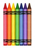 Large crayons in rainbow colors - isolated on white poster
