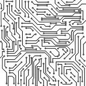 Circuit board black and white vector background poster