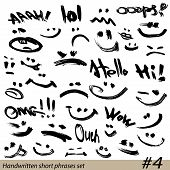 Set of Hand written short phrases and smiley faces in grunge style. poster