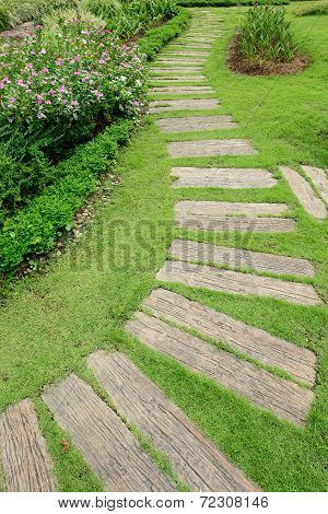 Pathway In The Garden, Beautiful Landscaping Of Gardening