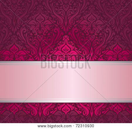 Red & silver ornamental vintage invitation design