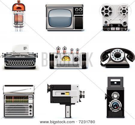 Conjunto de iconos de tecnologías Vintage