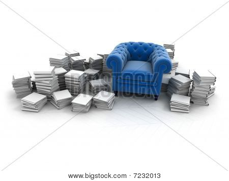 Blue Armchair And Books