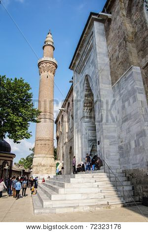 Brick minaret of the Ulu Cami outside the bazaar of Bursa Turkey poster