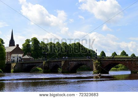 Handbridge over the river Dee in Chester