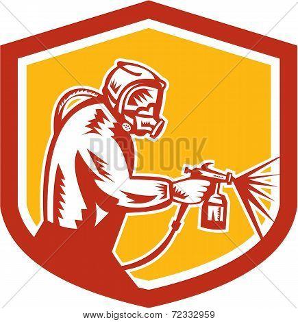 Spray Paint Gun Painter Spraying Shield Retro