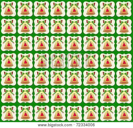Christmas wallpaper golden bell  green background
