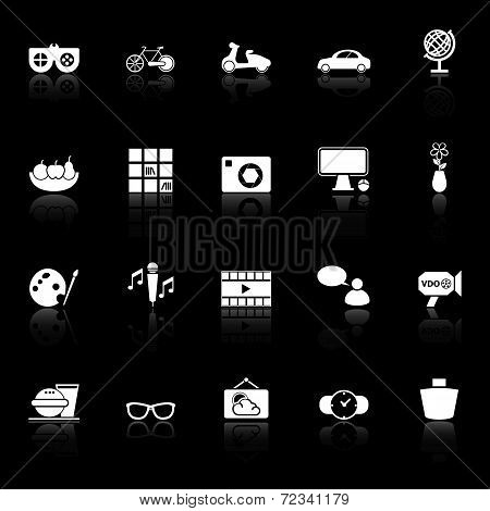 Favorite And Like Icons With Reflect On Black Background