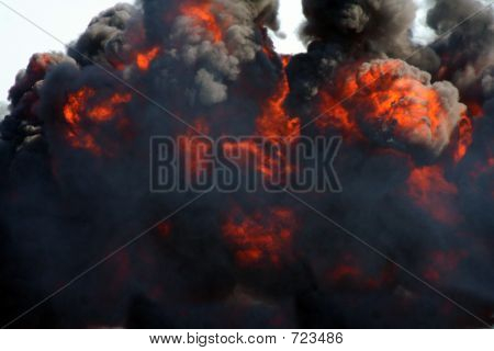 Explosion And Black Smoke