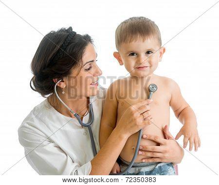 Doctor Examining Child Boy Isolated On White