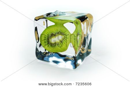half kiwi frozen in ice cubes, on a white background poster