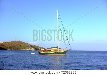 Sailing boat moving