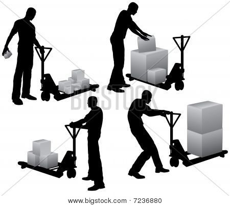 Workers with pallet