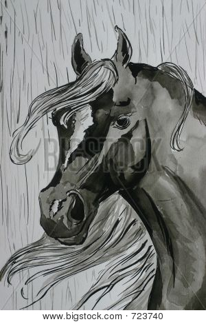 A watercolor painting of a black arabian horse in the rain poster
