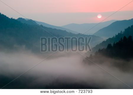 Sunset at Morton's Overlook Great Smoky Mountains National Park poster