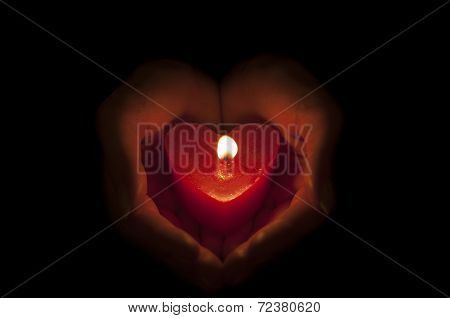 Candle in heart shape