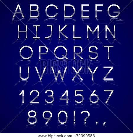 Vector chrome alphabet letter, digits and punctuation signs with reflection on dark background poster
