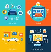 Auto mechanic service flat icons of maintenance car repair. Set of car wash best clean non stop auto service infographic design elements. Gas fuel station car oil petrol auto service concept. Car service car wash gas station auto diagnostics poster