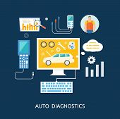 Auto mechanic service flat icons of maintenance car repair. Auto service concept. Car service diagnostics. Computers are used to communicate with auto electronics poster