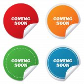 Coming soon sign icon. Promotion announcement symbol. Round stickers. Circle labels with shadows. Curved corner. Vector poster