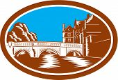 Illustration of the Trinity College Bridge in Cambridge England spanning the River Cam viewed from afar set inside oval done in retro woodcut style. poster