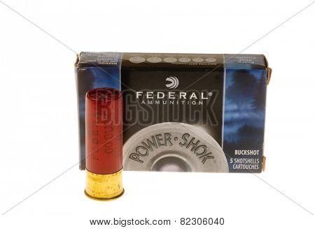Hayward, CA - February 2, 2015: Box of Federal Brand Buckshot , ammunition for a shotgun