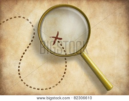 Magnifying glass and track with marked location on old map. Path finding concept poster