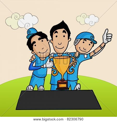 Cute cartoons of Cricket players enjoying and posing after winning trophy.