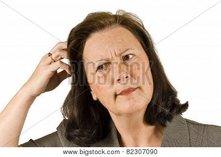 Woman Scratching Head Wondering