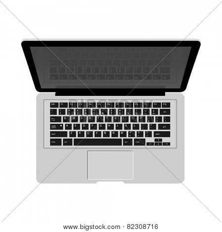 Detailed laptop isolated on white background for e-business, web sites, mobile applications, banners, corporate brochures, book covers, layouts etc. Vector eps10 illustration
