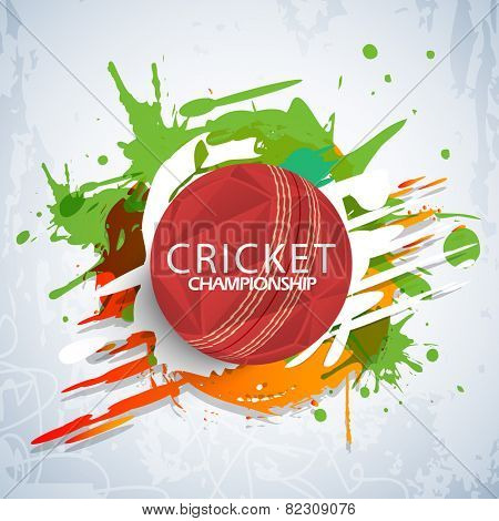 Cricket Championship concept with red stylish ball on colorful splash background.