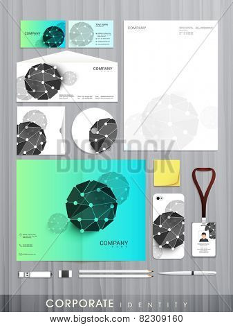 Professional business corporate identity set with creative abstract design includes CD Cover, Business Card, Envelope, ID Card and Letterhead.
