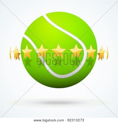 Vector illustration of tennis ball with golden stars