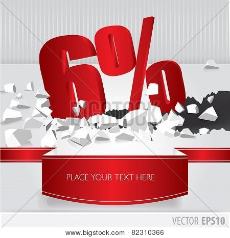 Red 6 Percent Discount On Vector Cracked Ground On White Background