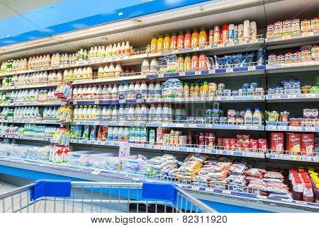 Fresh Milk Produces Ready For Sale In Perekrestok Samara Store, Russia