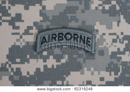Us Army Airborne Tab On Camouflage Uniform
