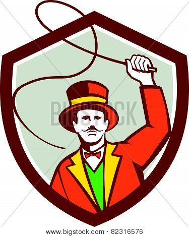 Illustration of a circus ring master holding a bullwhip facing front set inside shield crest on isolated background done in retro style. poster