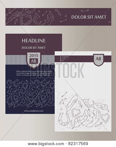Flyer, cover. Template with heraldic elements. Status, masculinity.