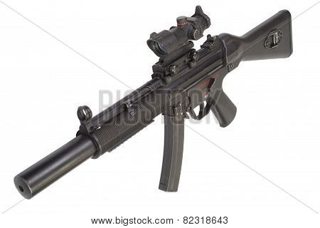 submachine gun with silencer isolated on white background poster