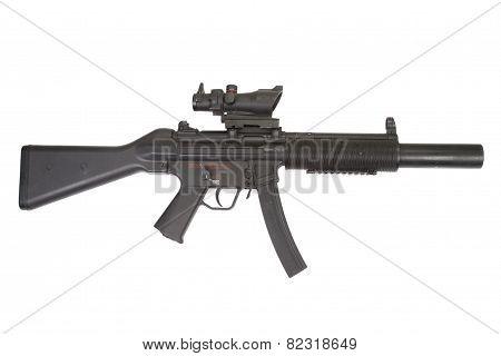submachine gun with silencer
