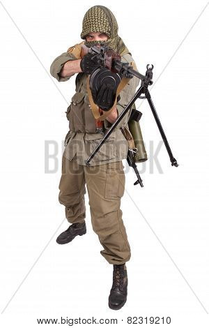mercenary with machine gun isolated on white poster