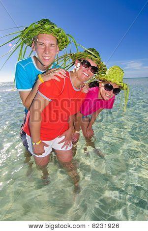 Family in ocean