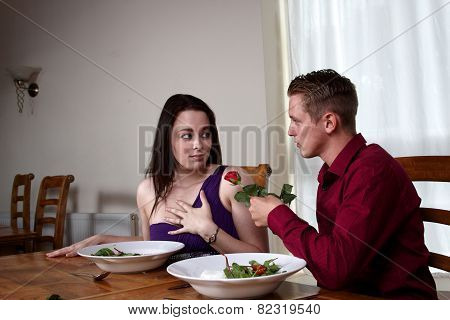 A Young Couple Having A Romantic Meal