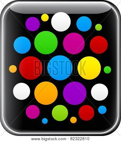 Glossy gadget with colorful circles. Cloud of menu icons. Vector illustration.