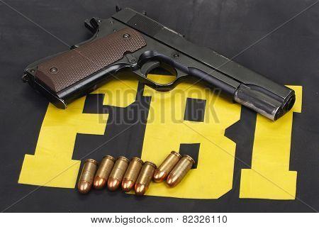 Colt Government M1911 Handgun With Ammo On Fbi Uniform